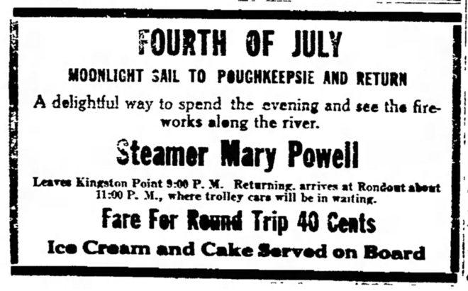 Mary Powell 4th of July ad from june 30, 1916, Daily Freeman, Kingston, NY