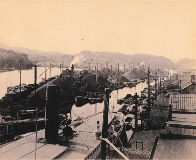 Island Dock, and barges loaded with coal,